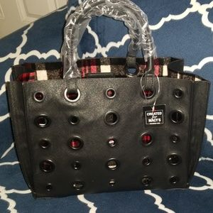 Steve madden tote shopper plaid lined open bag